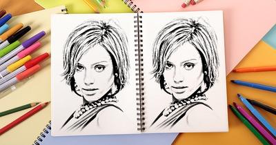 2 fotos por desenham em um caderno
