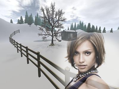 Snježne krajolik scena