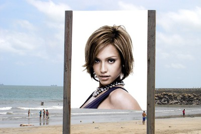 Reklame plakat scene Beach Sea
