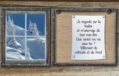 Text on canvas in winter