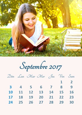 2017 September calendar with personal picture (multi laguage)