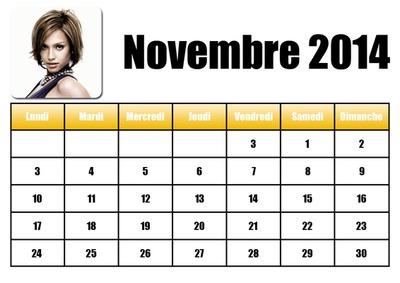 Calendrier Novembre 2014 en Français