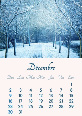 2018年12月のカレンダーをA4形式で印刷可能