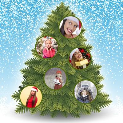 Árbol de Navidad con bolas en 6 personas