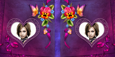 Μωβ εξώφυλλο του βιβλίου με λουλούδια, καρδιές και πεταλούδες # 4