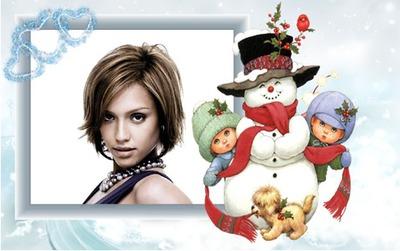 Dzieci Snowman Winter Serce