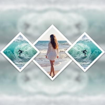 3 diamantové fotografie duplikované na pozadí