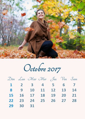 Calendario de octubre de 2017 con foto personalizable (varios idiomas disponibles)