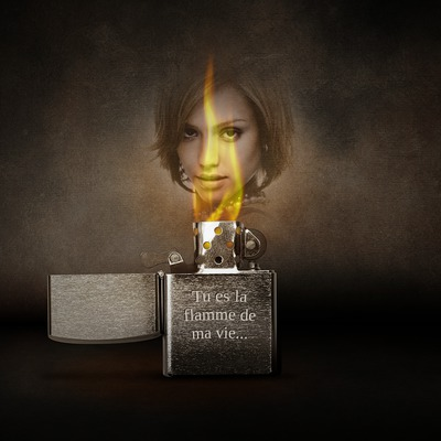 Photo in a flame and text on Zippo lighter