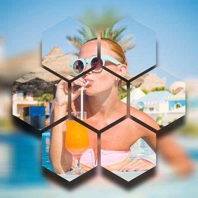 efecto artístico hexagonal con fondo borroso
