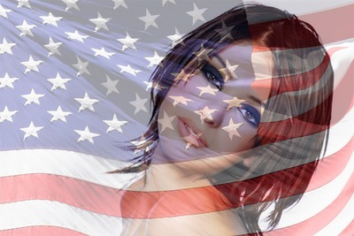 Američka / Amerika / SAD / Sjedinjene Države zastava u transparentnosti