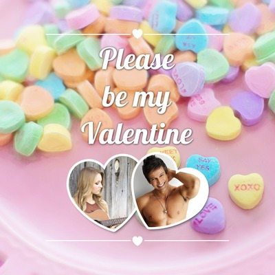 Valentine's day 2 heart shaped pictures + text