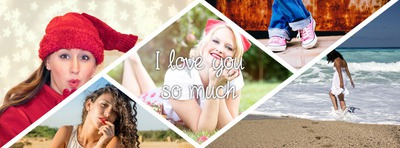 5 pictures Facebook cover with triangles and lozenges with personal text