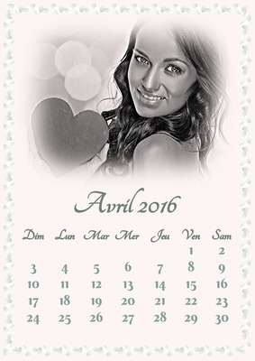 Calendrier Avril 2016 avec photo personnalisable
