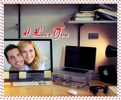 Scène Bureau Ecran plat I love you