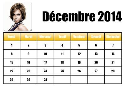Calendrier Décembre 2014 en Français
