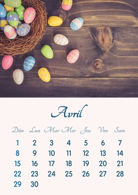 Calendario abril de 2018 imprimible en formato A4