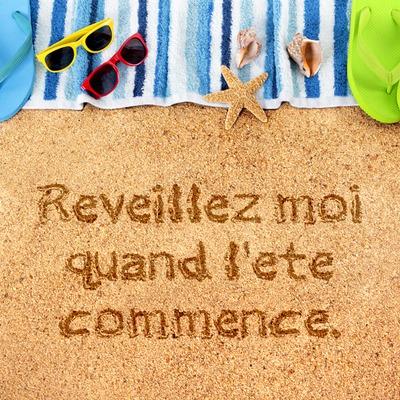 Texte sur le sable style vacances en bord de mer