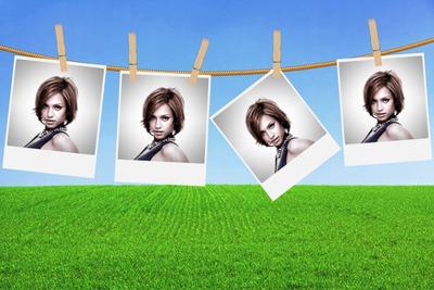 4 wiszące polaroidy