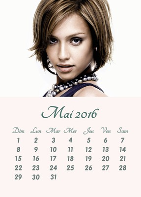 2016. gada maija kalendārs ar pielāgojamu fotoattēlu