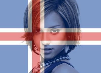 Islannin lippu Islanti muokattavissa