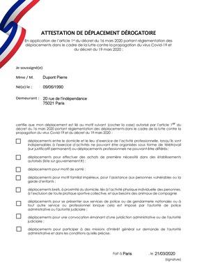 Attestation de déplacement dérogatoire pour la France