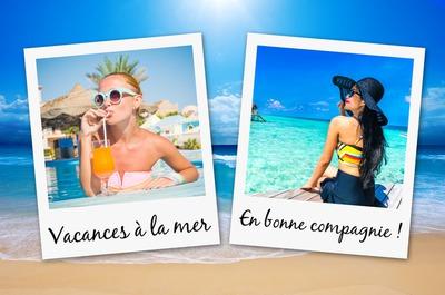2 polaroids au soleil sur la mer avec texte personnalisable pour l'été
