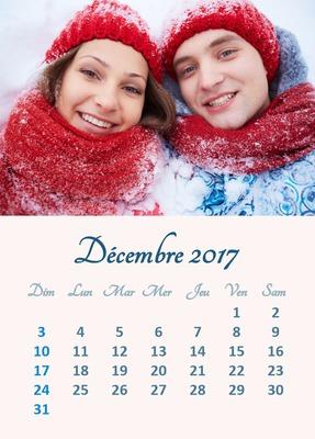 Календарь на декабрь 2017 года с настраиваемой фотографией (доступно несколько языков)