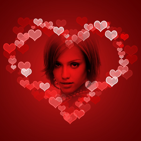 Photo montage red hearts pixiz