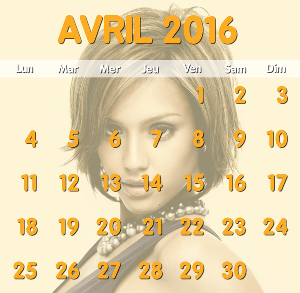 Photo montage april 2016 calendar with customizable background photo