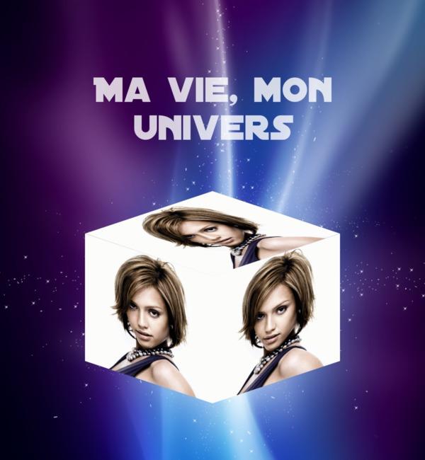 Photo montage cube 3d in the universe pixiz