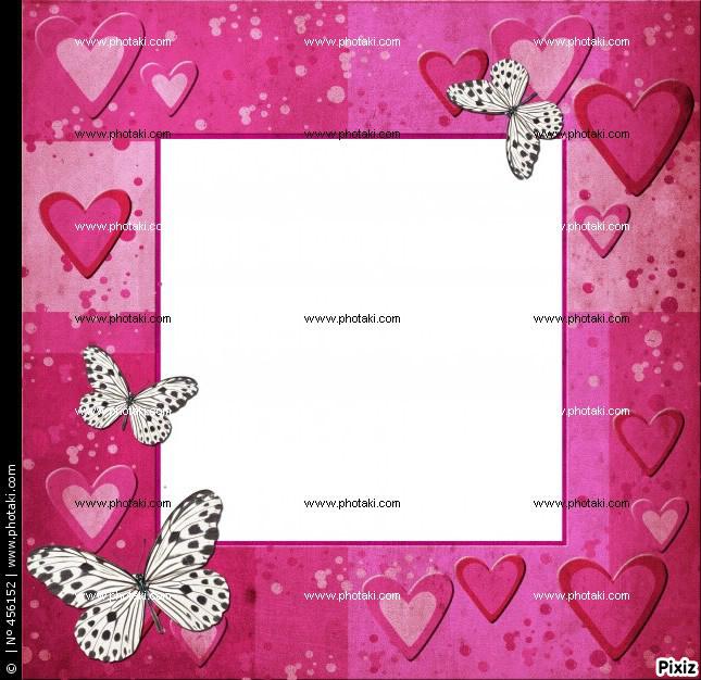 Montaje fotografico cuadro de mariposas rosas - Pixiz