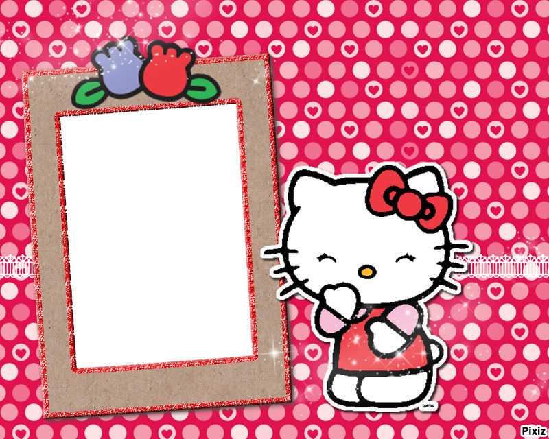 Photo montage hello kitty cuadro - Pixiz
