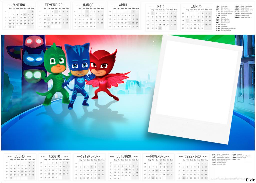Montaje fotografico marco calendario pj mask - Pixiz