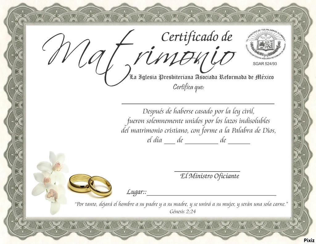 Montaje fotografico certificado de matrimonio con foto - Pixiz