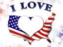 I Love avec drapeaux américain coeur & étoile