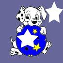 2 étoiles / chien/ballon