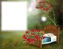 Lit - dormir - fleurs rouges
