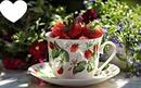 Tasse fraises et fleurs