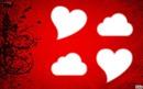 fond rouge coeur avec nuage