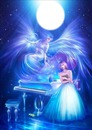 blue angel with piano