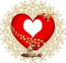 coeur avec ange et chat 1 cadre photo