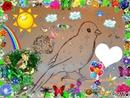 CANARI BLANC dessiné par GINO GIBILARO avec soleil,coeurs,fées,arc-en-ciel, ...
