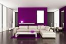 sala violeta y blanca