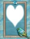 cadre bleu oiseau coeur