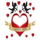 deux cupidons avec coeurs I LOVE YOU