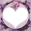cadre coeur fleurie violet