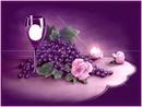 purple wine glass grapes roses