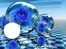 rosas en bolas de cristal