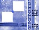 Double cadre fond bleu